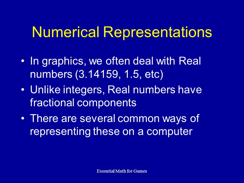 Numerical Representations