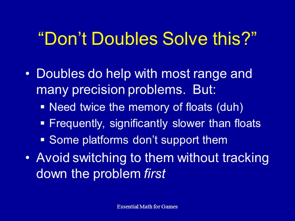 Don't Doubles Solve this