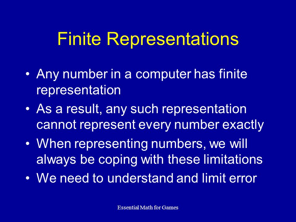 Finite Representations