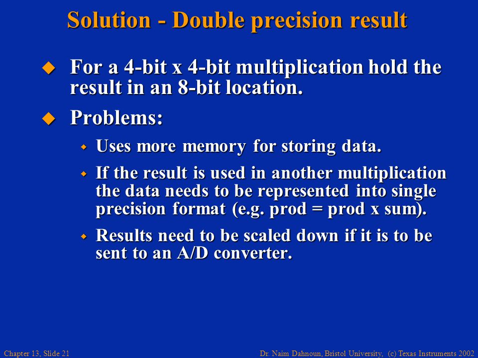 Solution - Double precision result