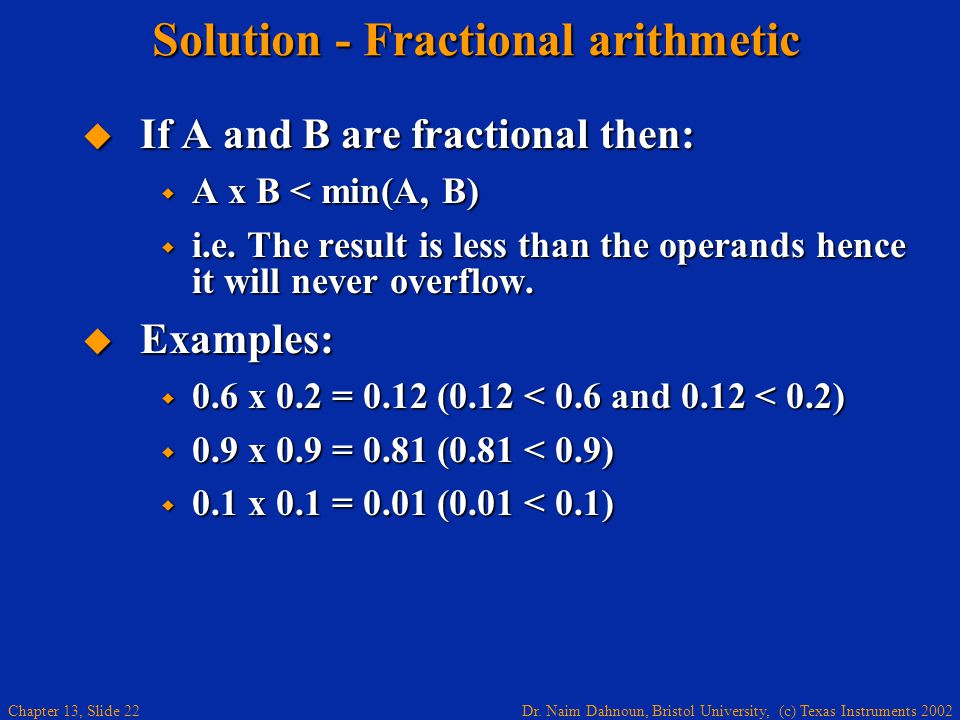 Solution - Fractional arithmetic