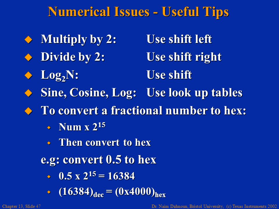 Numerical Issues - Useful Tips