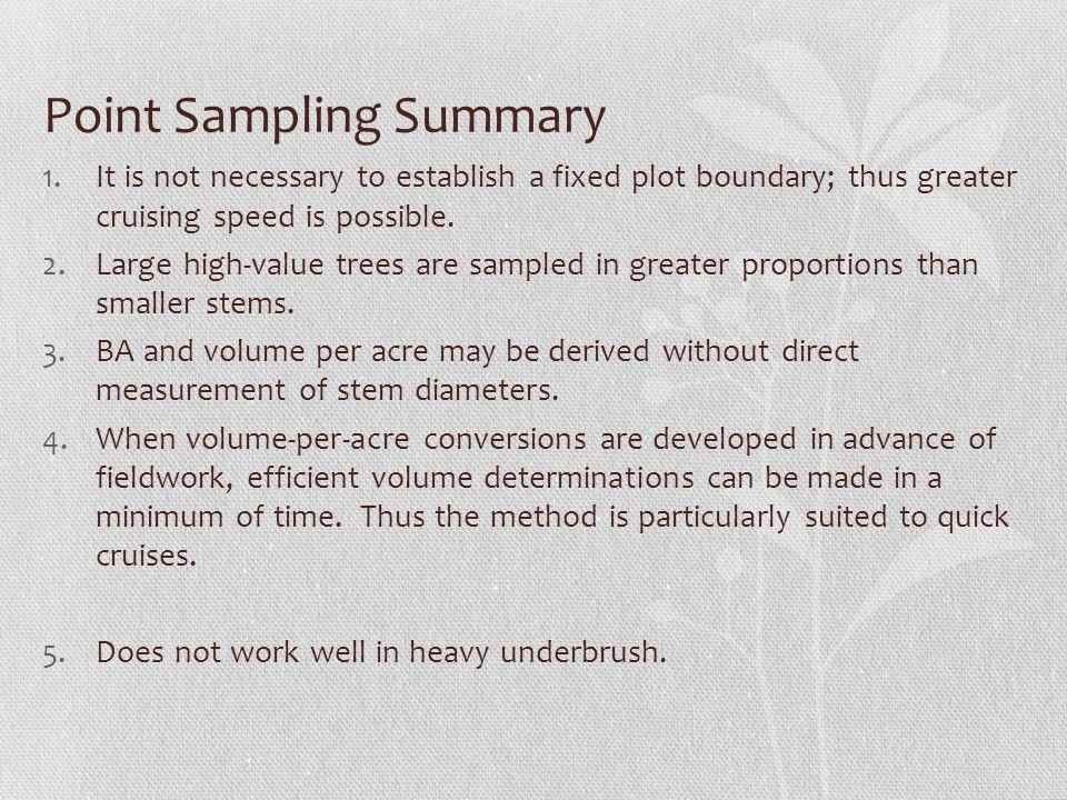 Point Sampling Summary