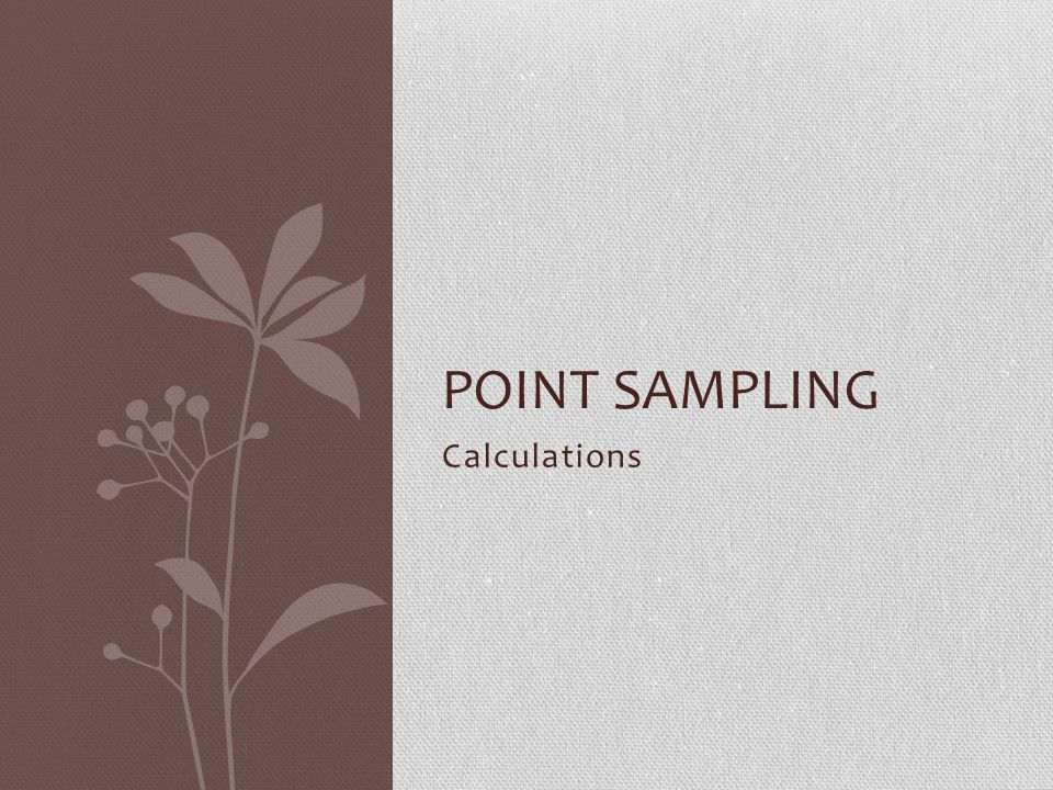 Point Sampling Calculations