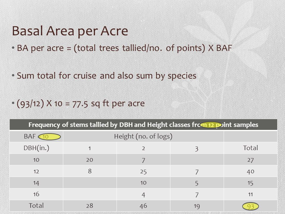 Basal Area per Acre BA per acre = (total trees tallied/no. of points) X BAF. Sum total for cruise and also sum by species.