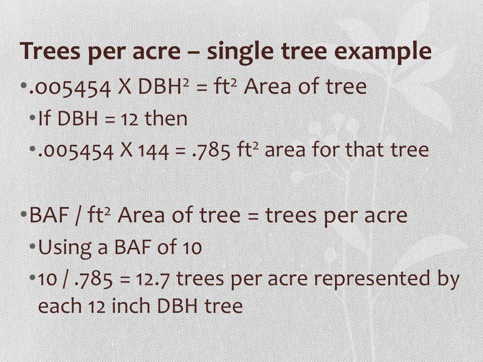 Trees per acre – single tree example
