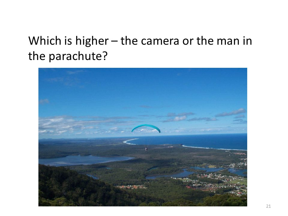 Which is higher – the camera or the man in the parachute