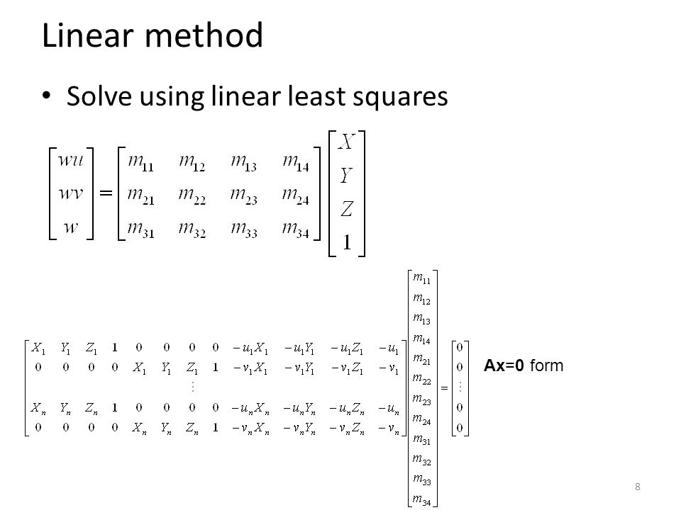 Linear method Solve using linear least squares Ax=0 form