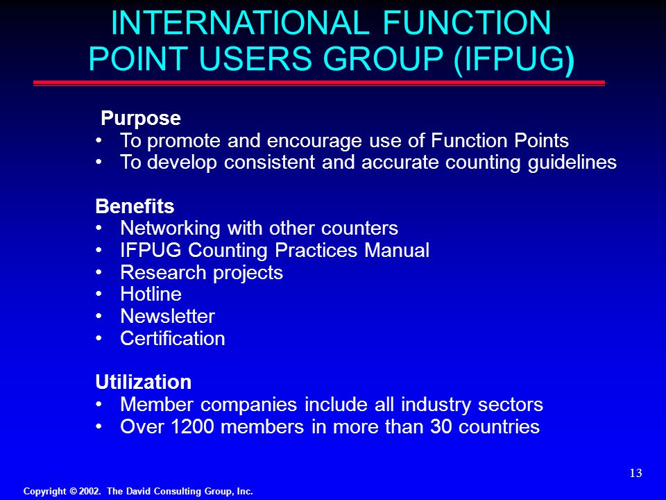 INTERNATIONAL FUNCTION POINT USERS GROUP (IFPUG)