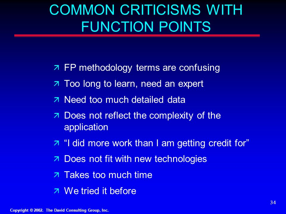 COMMON CRITICISMS WITH FUNCTION POINTS