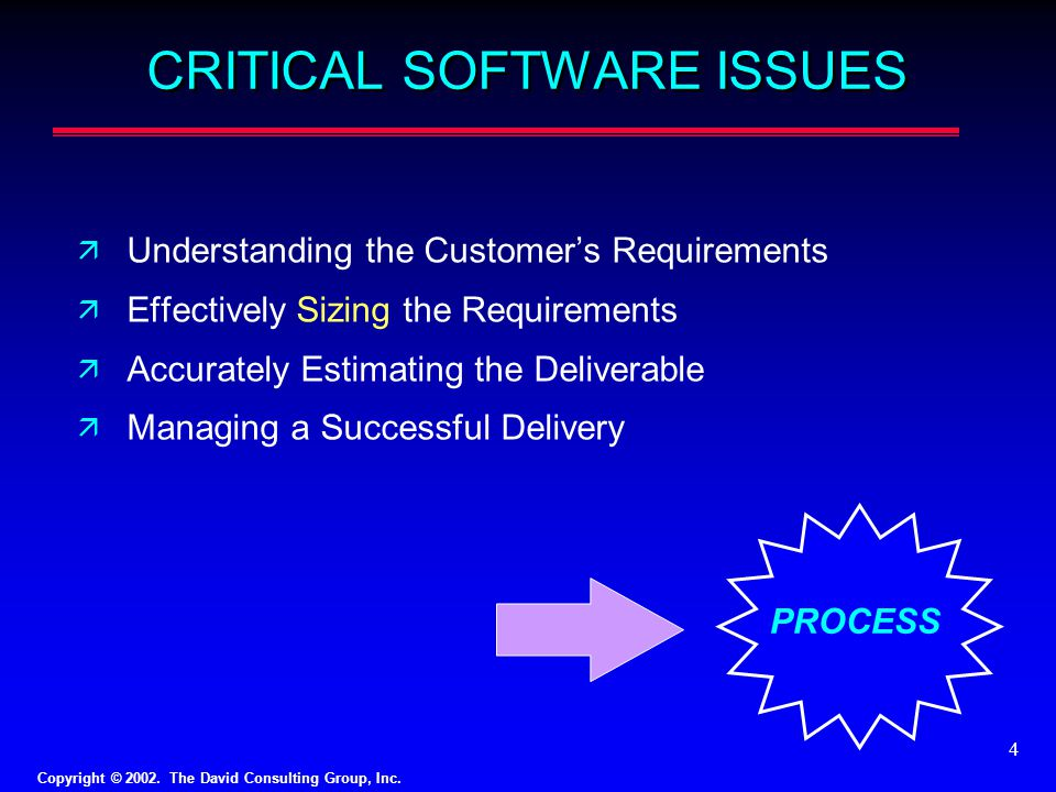 CRITICAL SOFTWARE ISSUES