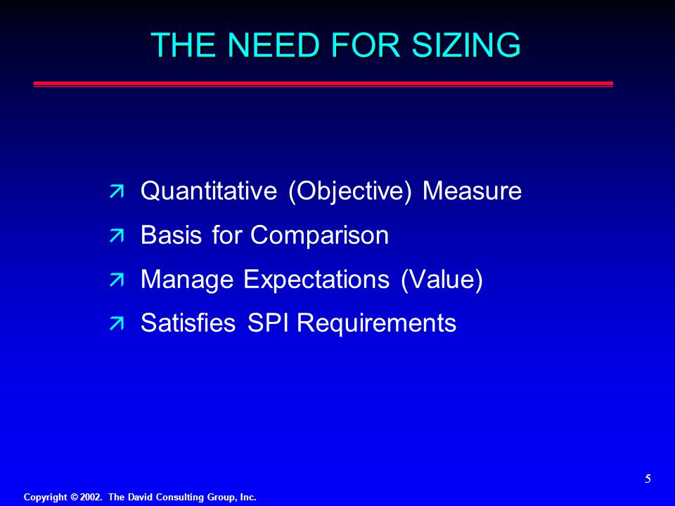 THE NEED FOR SIZING Quantitative (Objective) Measure