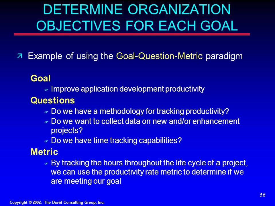 DETERMINE ORGANIZATION OBJECTIVES FOR EACH GOAL