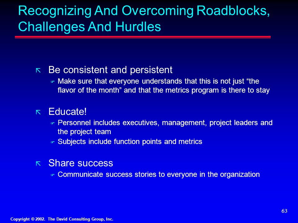 Recognizing And Overcoming Roadblocks, Challenges And Hurdles