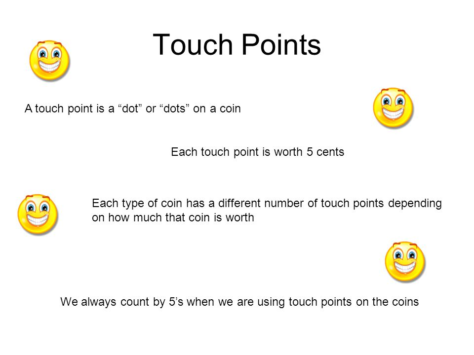Touch Points A touch point is a dot or dots on a coin