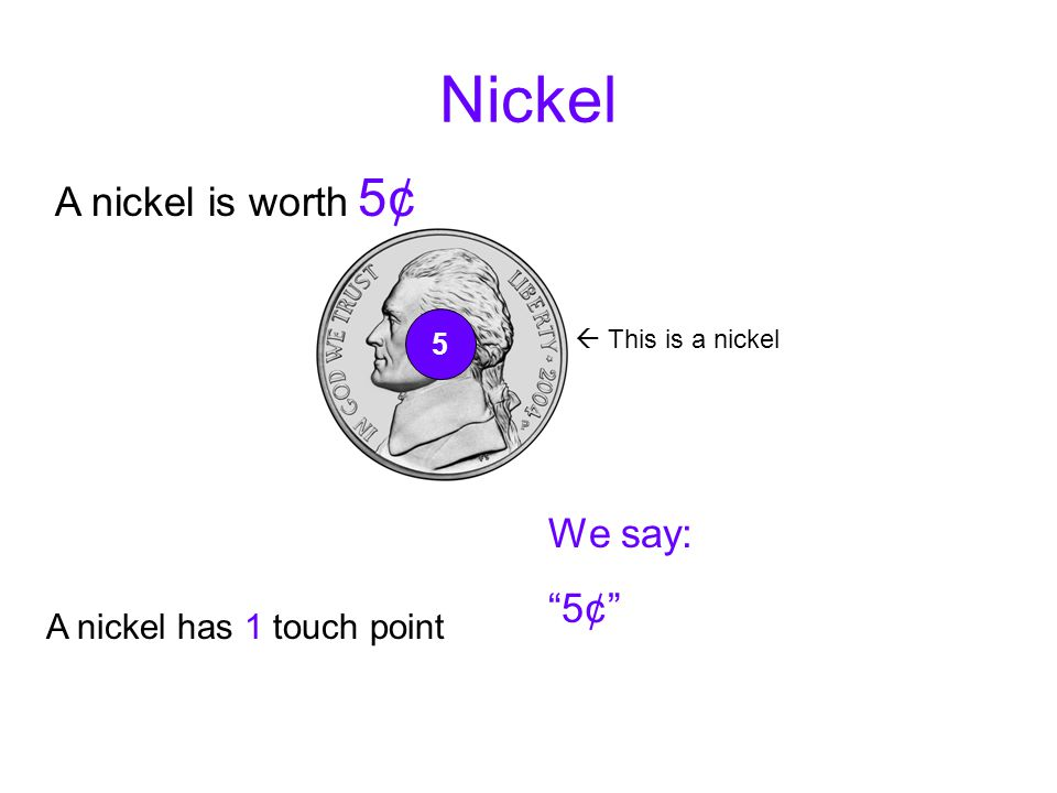Nickel A nickel is worth 5¢ We say: 5¢ A nickel has 1 touch point 5