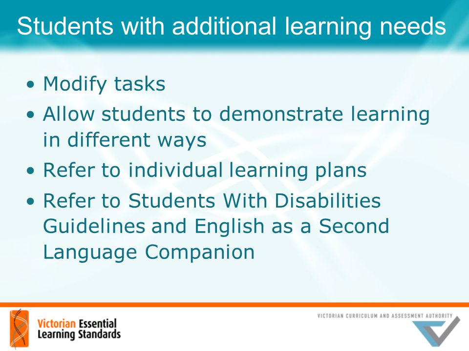 Students with additional learning needs