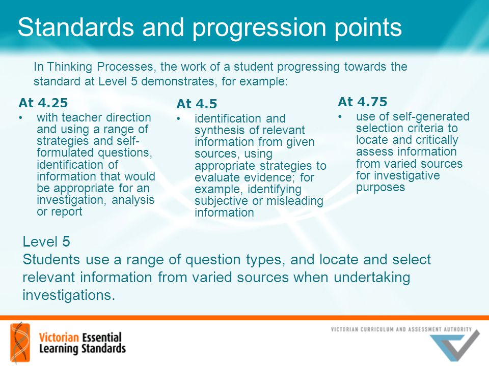Standards and progression points