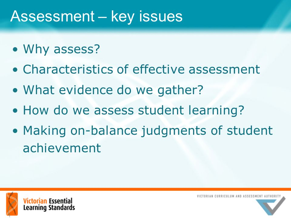 Assessment – key issues