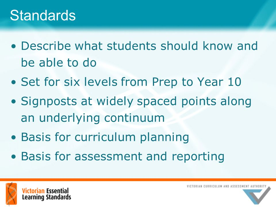 Standards Describe what students should know and be able to do