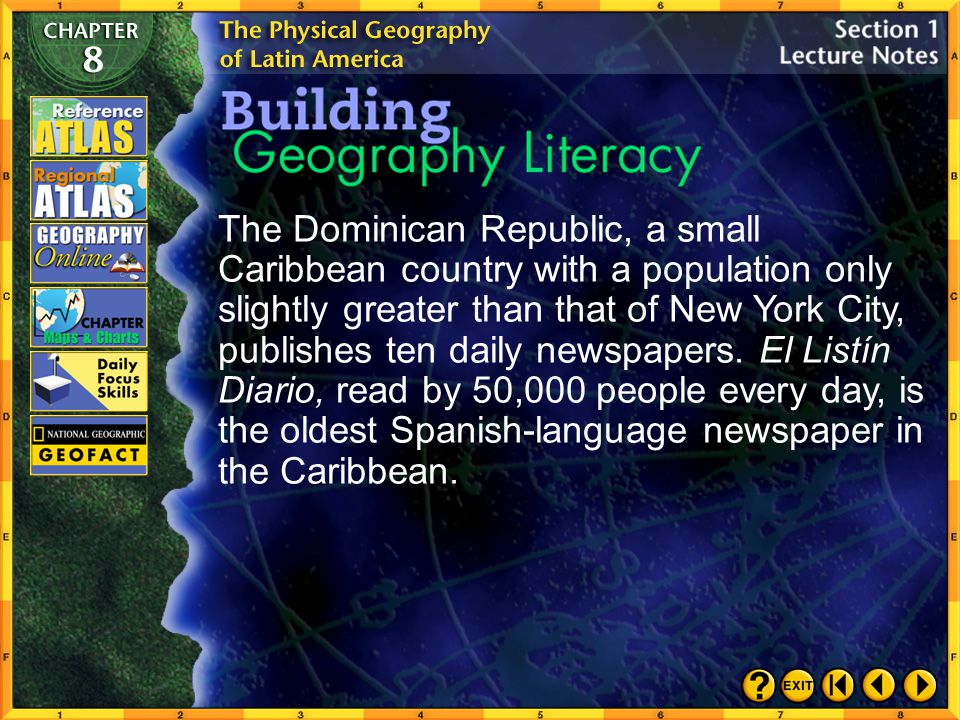 The Dominican Republic, a small Caribbean country with a population only slightly greater than that of New York City, publishes ten daily newspapers. El Listín Diario, read by 50,000 people every day, is the oldest Spanish-language newspaper in the Caribbean.