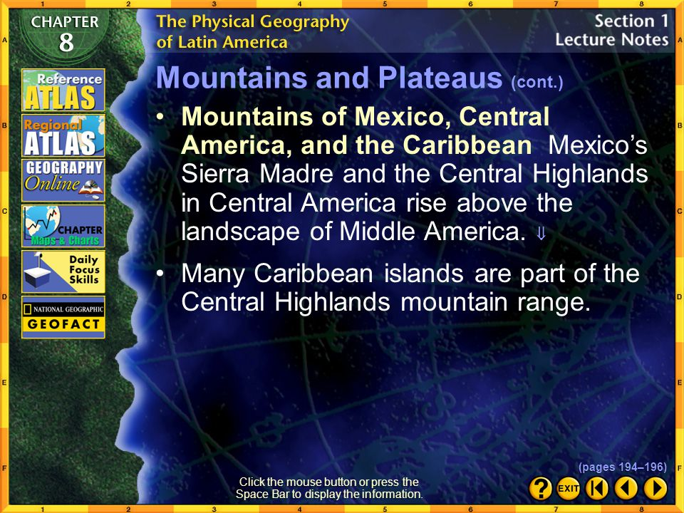 Mountains and Plateaus (cont.)