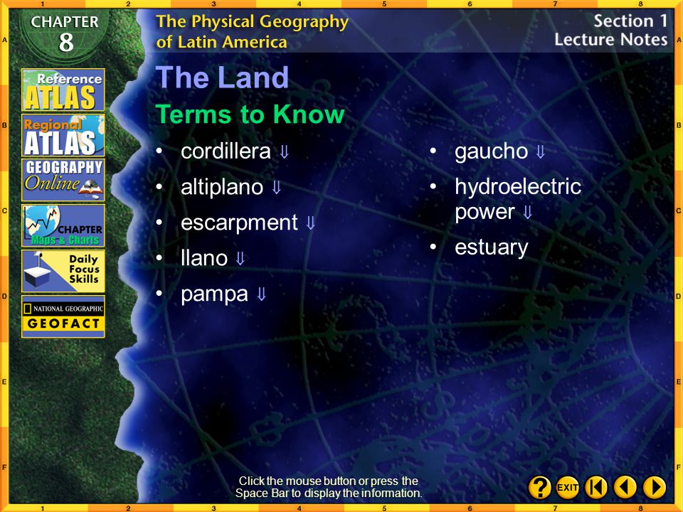 The Land Terms to Know cordillera  gaucho  hydroelectric power 