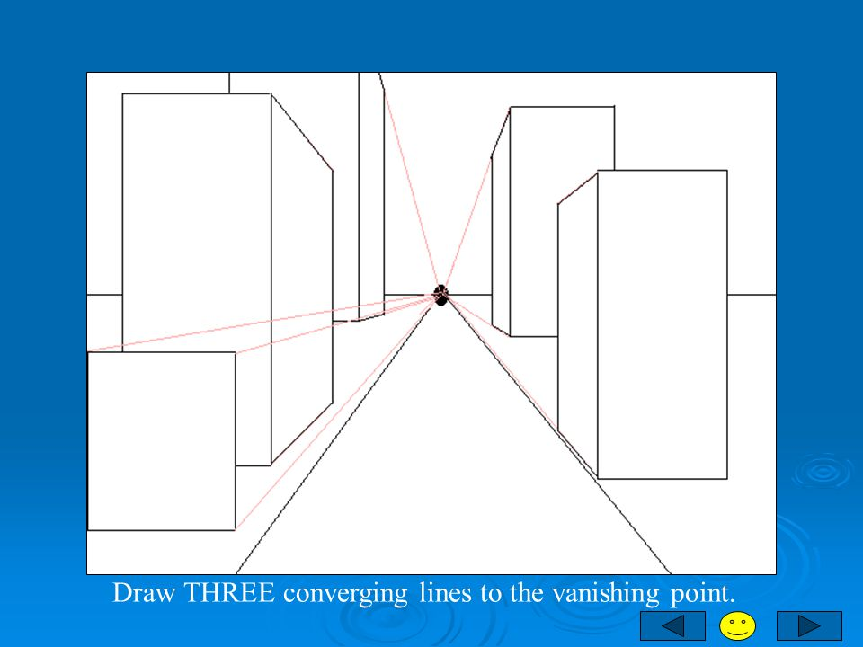 Draw THREE converging lines to the vanishing point.