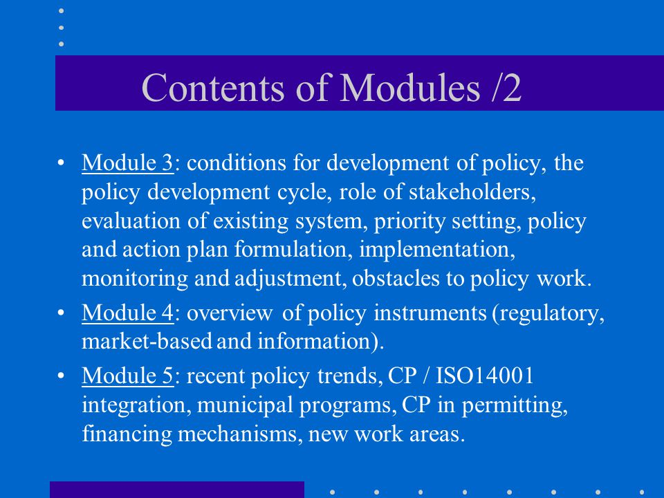 Contents of Modules /2