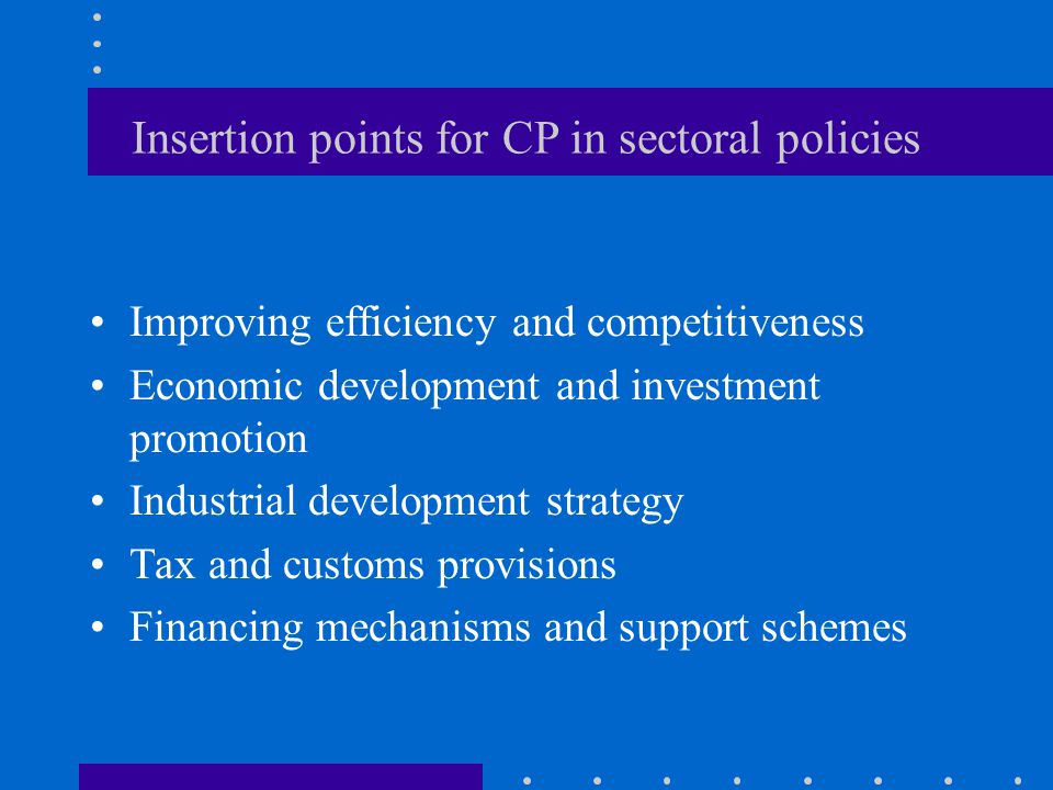 Insertion points for CP in sectoral policies