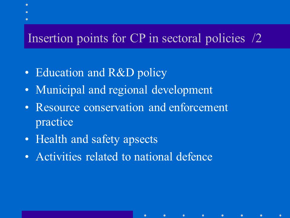 Insertion points for CP in sectoral policies /2