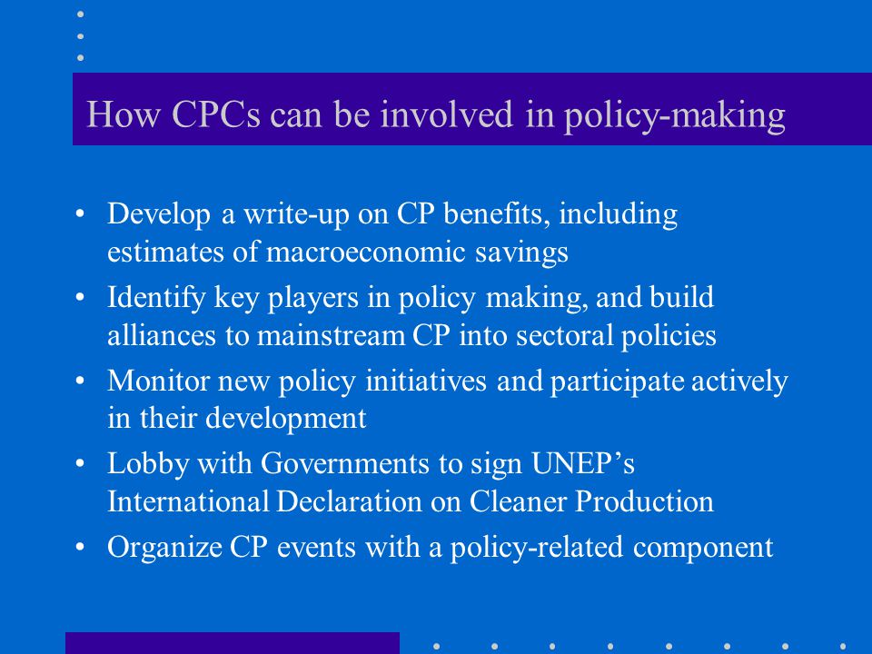 How CPCs can be involved in policy-making