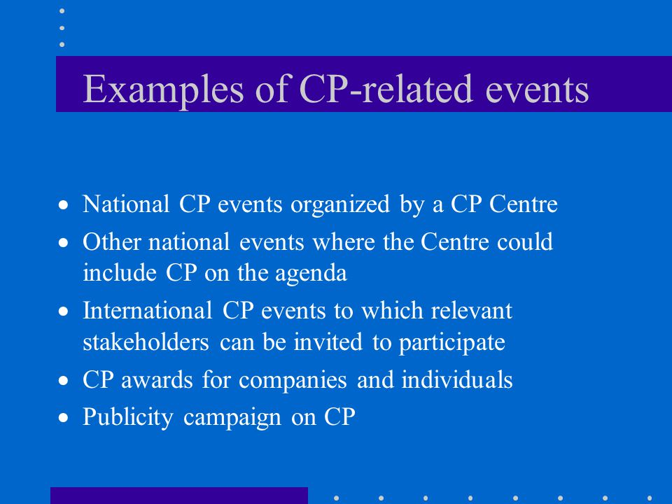 Examples of CP-related events
