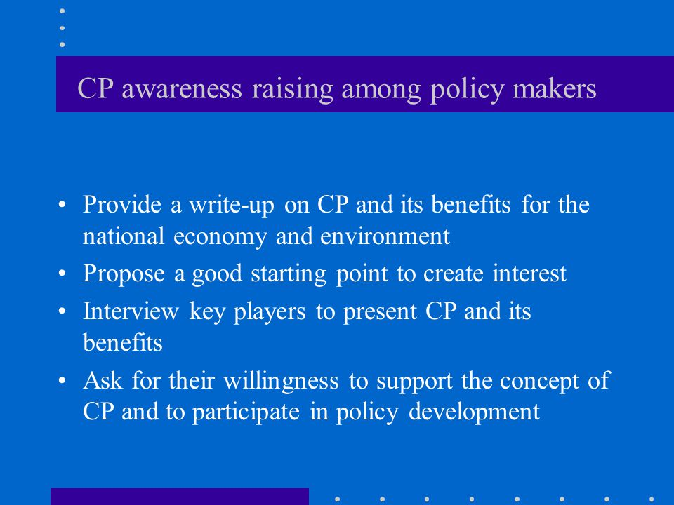 CP awareness raising among policy makers