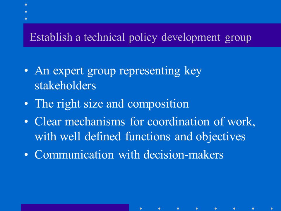 Establish a technical policy development group