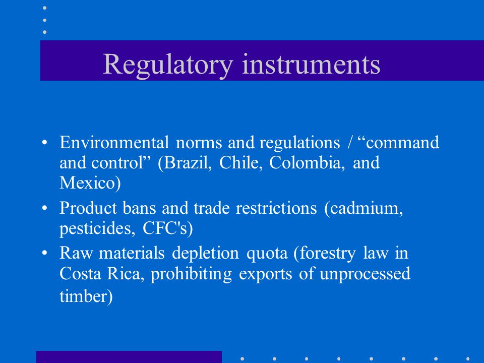 Regulatory instruments