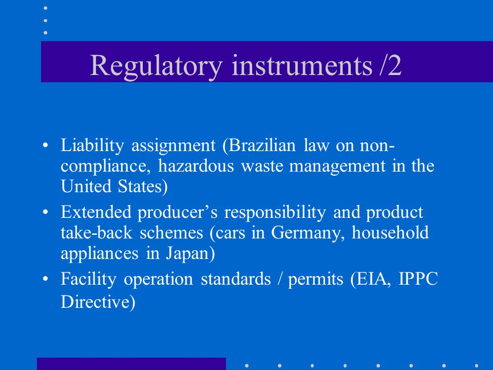 Regulatory instruments /2