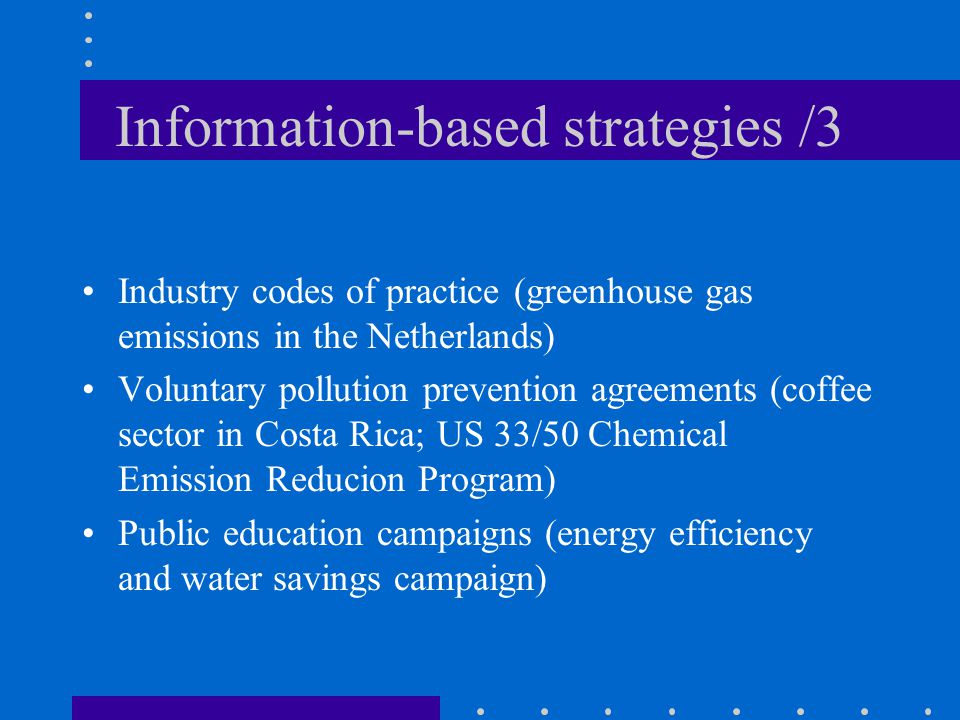 Information-based strategies /3