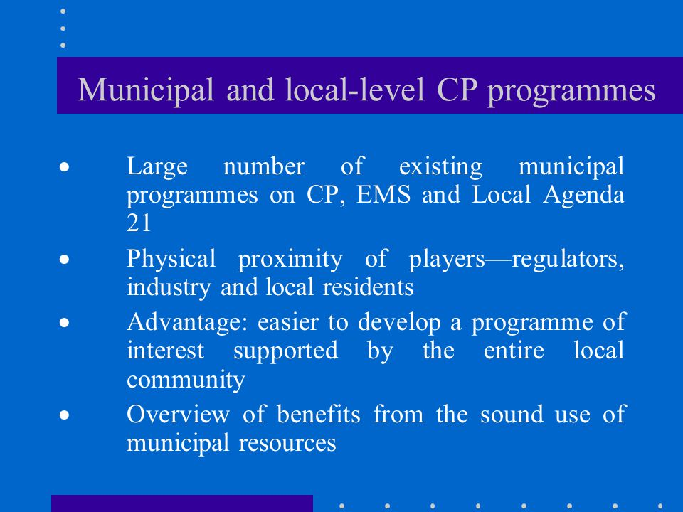 Municipal and local-level CP programmes