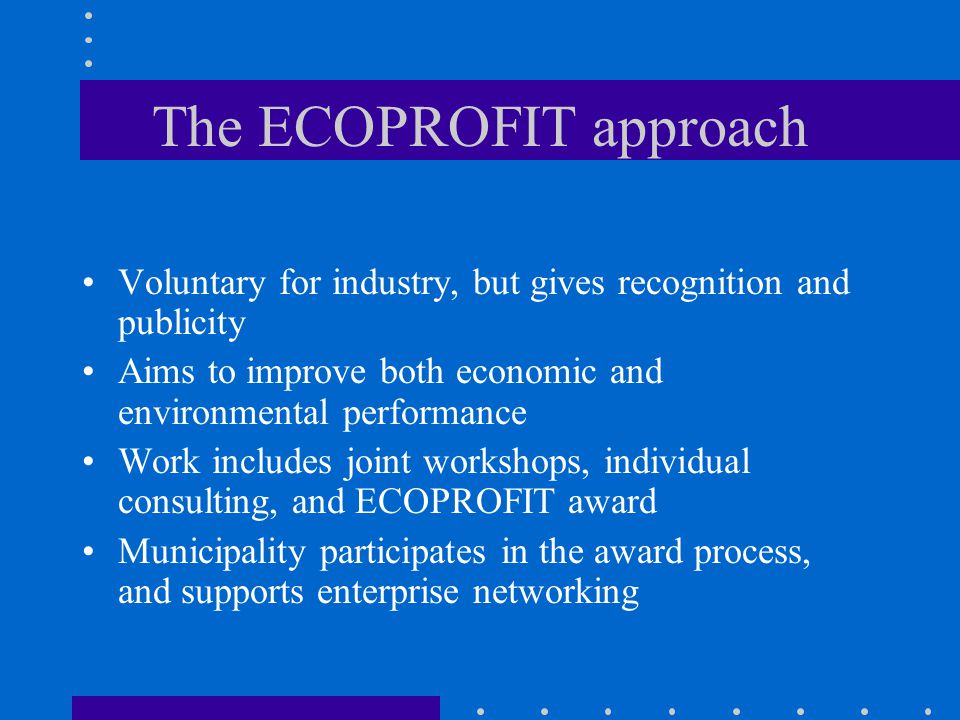The ECOPROFIT approach