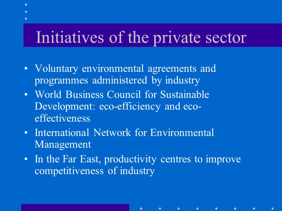 Initiatives of the private sector