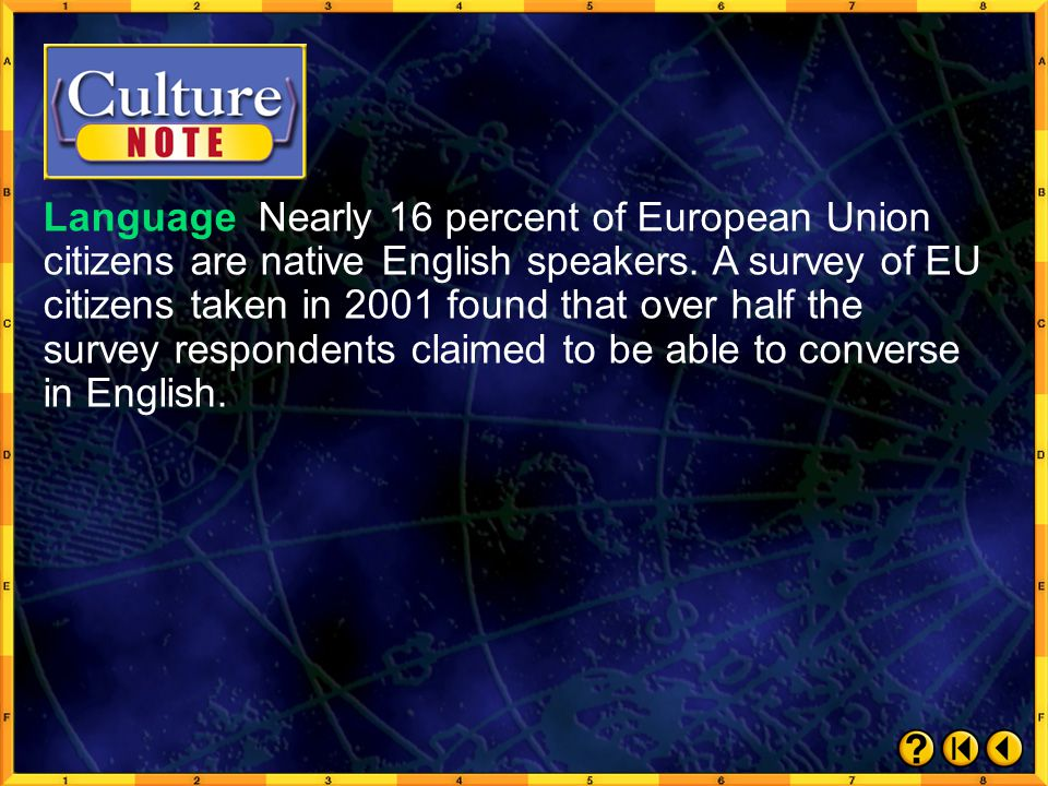 Language Nearly 16 percent of European Union citizens are native English speakers. A survey of EU citizens taken in 2001 found that over half the survey respondents claimed to be able to converse in English.