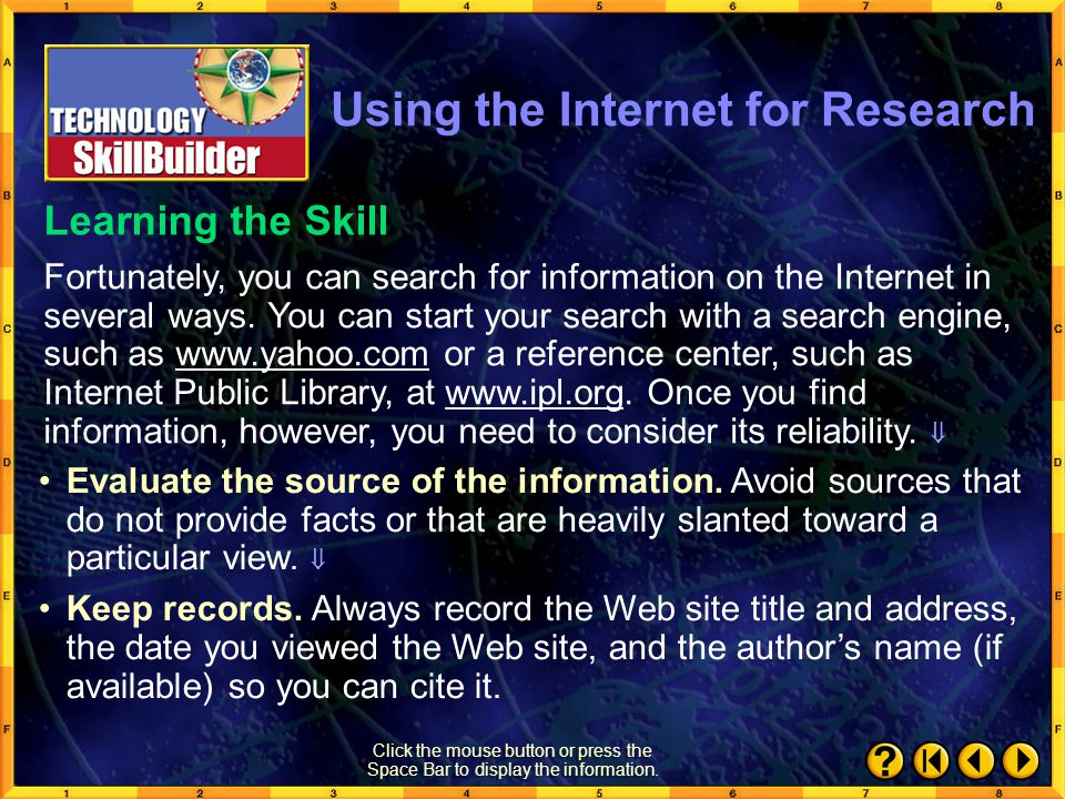 Using the Internet for Research