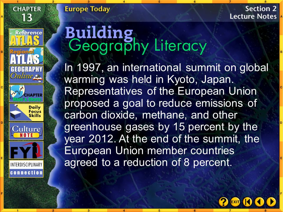 In 1997, an international summit on global warming was held in Kyoto, Japan. Representatives of the European Union proposed a goal to reduce emissions of carbon dioxide, methane, and other greenhouse gases by 15 percent by the year 2012. At the end of the summit, the European Union member countries agreed to a reduction of 8 percent.
