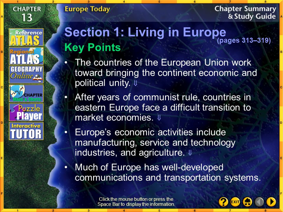 Section 1: Living in Europe