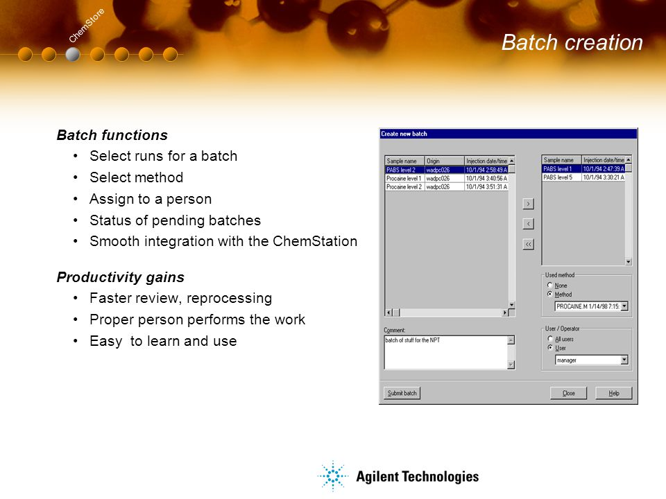 Batch creation Batch functions Select runs for a batch Select method