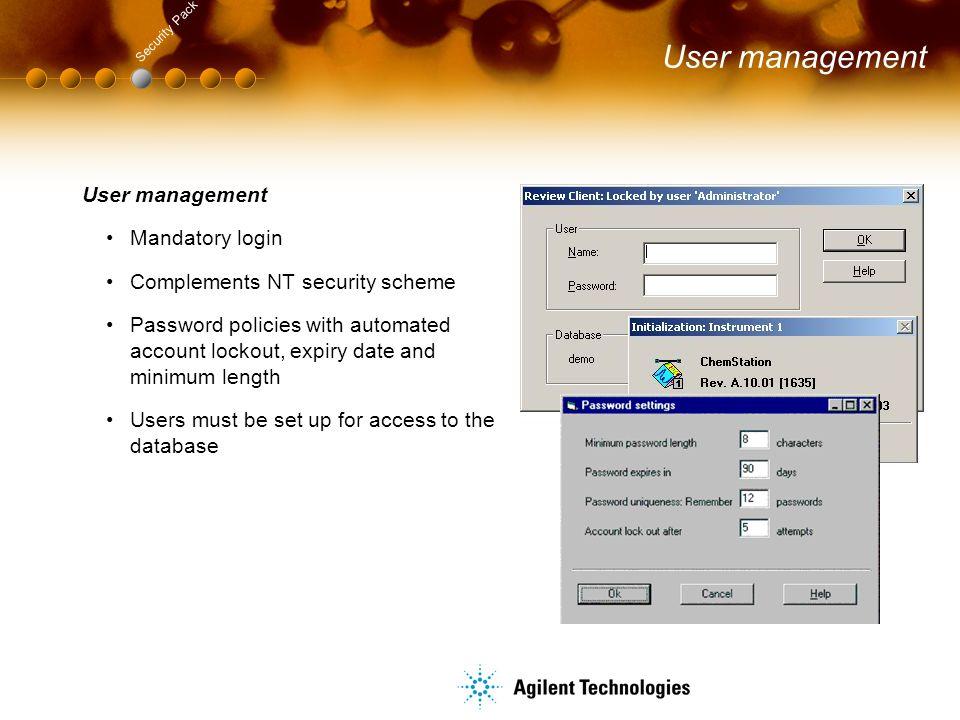 User management User management Mandatory login