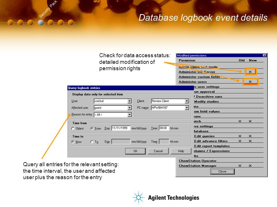 Database logbook event details