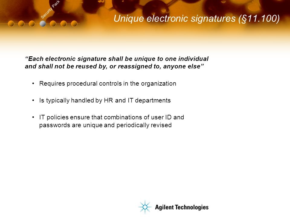Unique electronic signatures (§11.100)