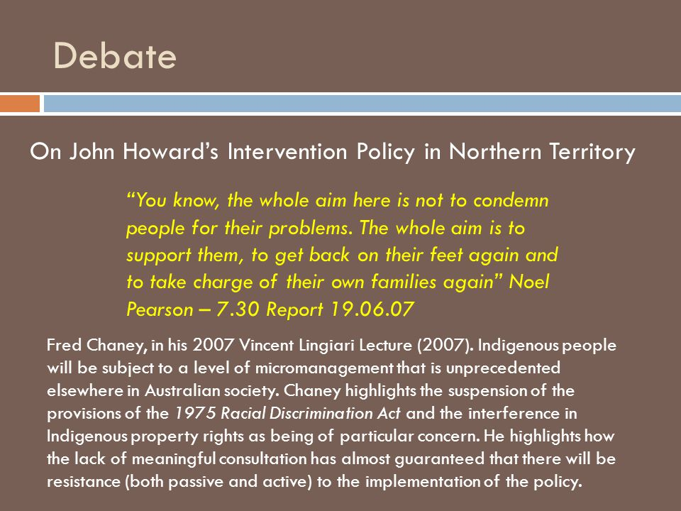 Debate On John Howard's Intervention Policy in Northern Territory